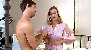Blonde step mom with young son