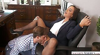 Blondes licking ripped pussy at the office of sextape