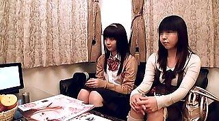 Asian teen gives blowjob after massage
