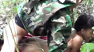 Busty military woman and friend fucking outdoors