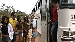 Beautiful Brazilian amateur fucking at a public bus